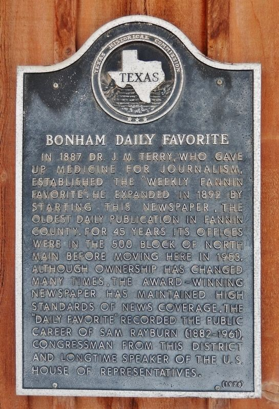 Bonham Daily Favorite Marker image. Click for full size.