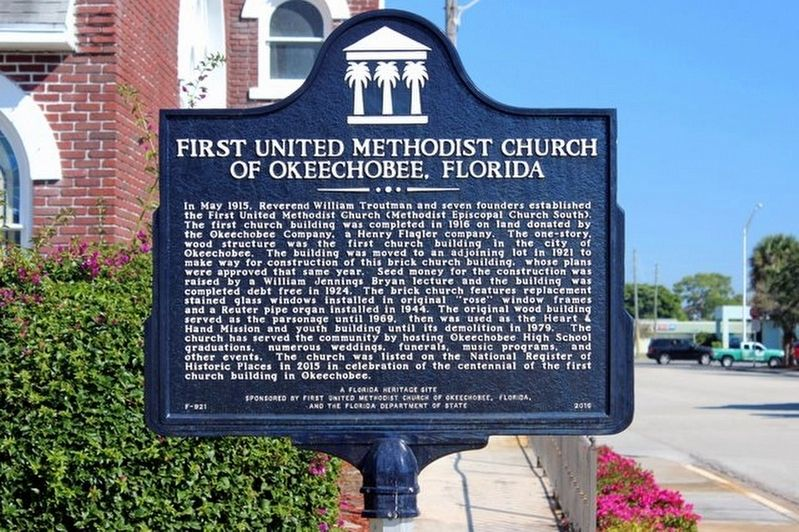 First United Methodist Church of Okeechobee, Florida Marker image. Click for full size.