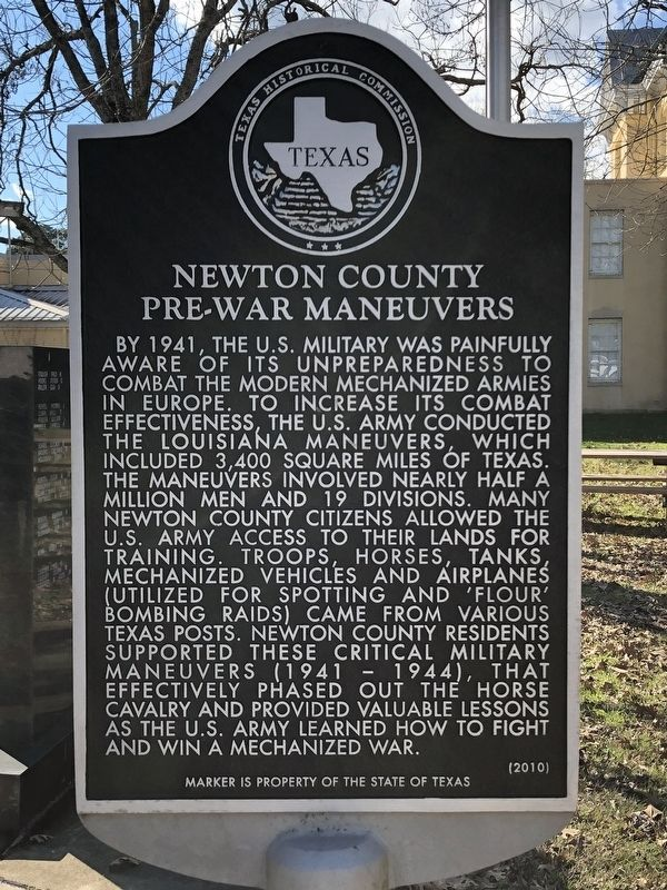 Newton County Pre-War Maneuvers Marker image. Click for full size.