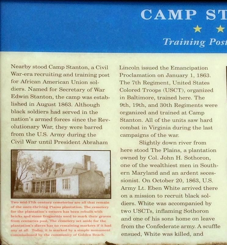 Left half of the Camp Stanton Marker image. Click for full size.