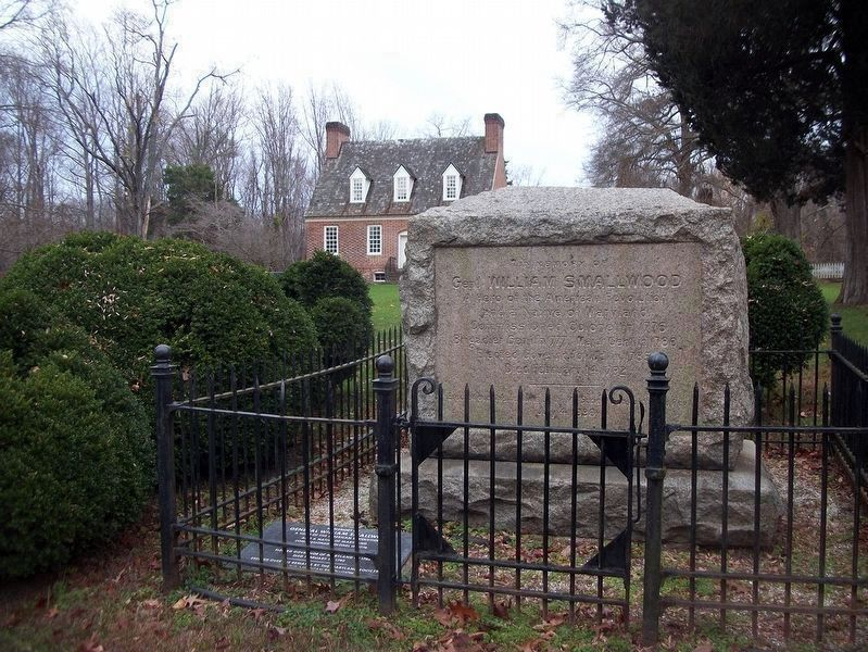 General Smallwood's Gravesite marker & exterior of Smallwood's house in background. image. Click for full size.