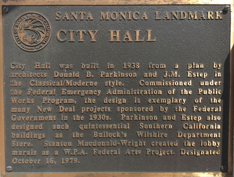 Santa Monica City Hall Marker image. Click for full size.