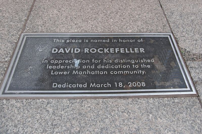 David Rockefeller Plaza dedication marker image. Click for full size.