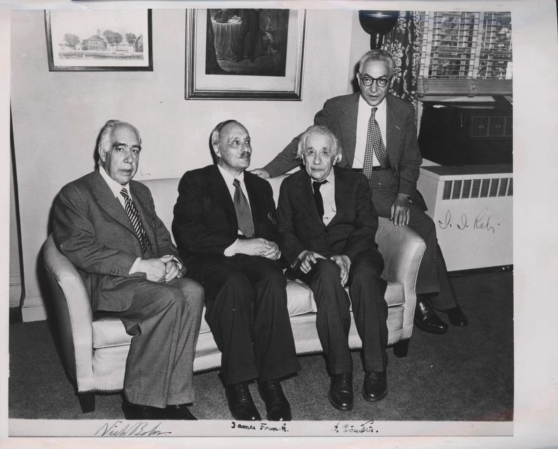 Niels Bohr, left; James Franck, Albert Einstein, Isidor Isaac Rabi. image. Click for full size.