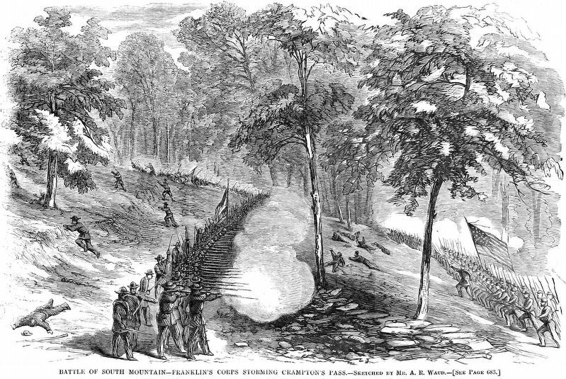 Battle of South Mountain<br>Franklin's Corps Storming Crampton's Pass image. Click for full size.