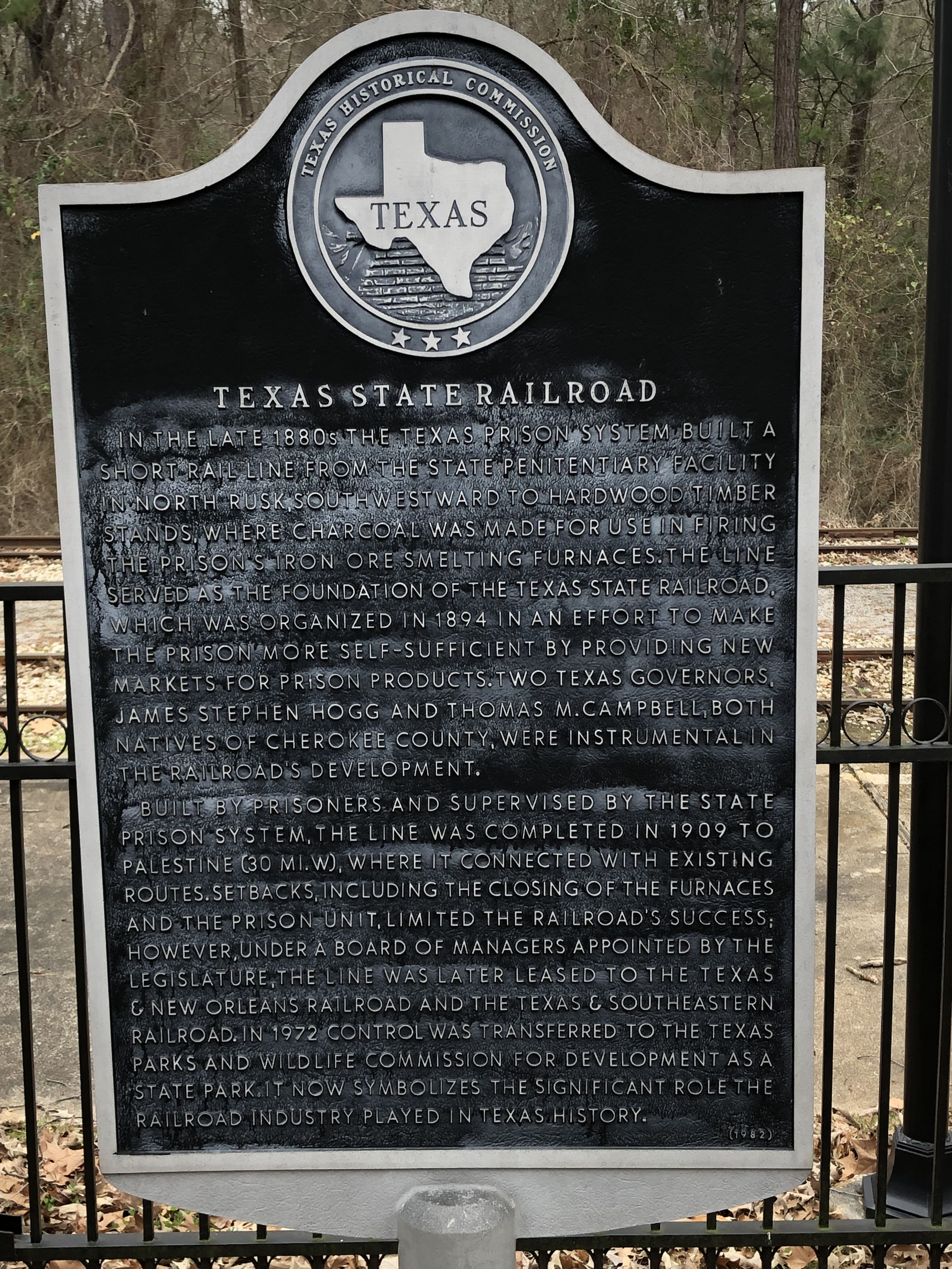 Texas State Railroad Marker