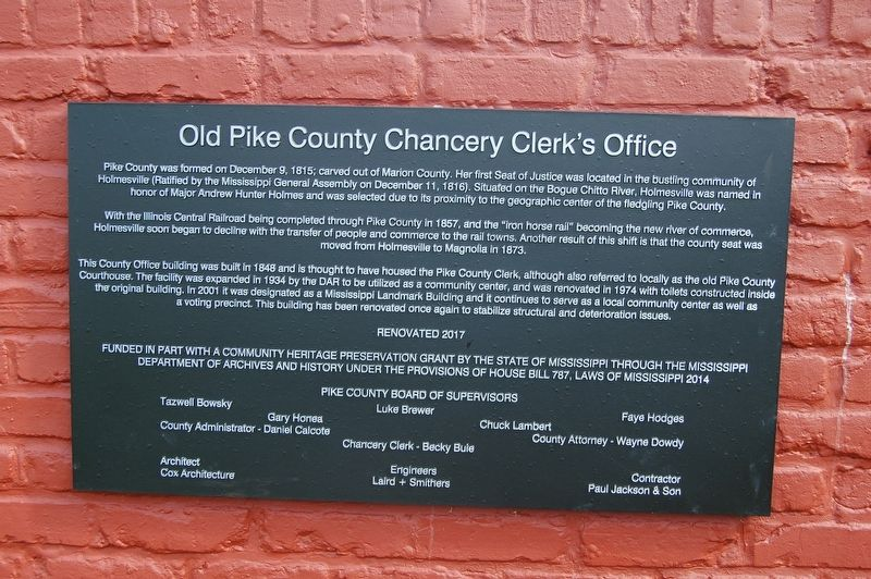 Old Pike County Chancery Clerk's Office Marker image. Click for full size.