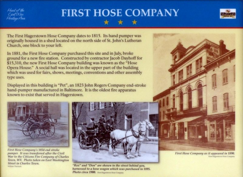 First Hose Company Marker image. Click for full size.