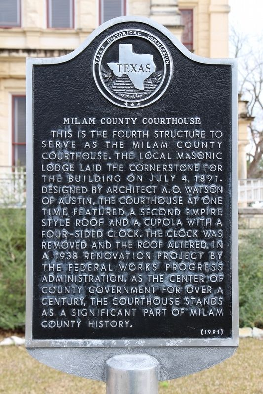 Milam County Courthouse Marker image. Click for full size.