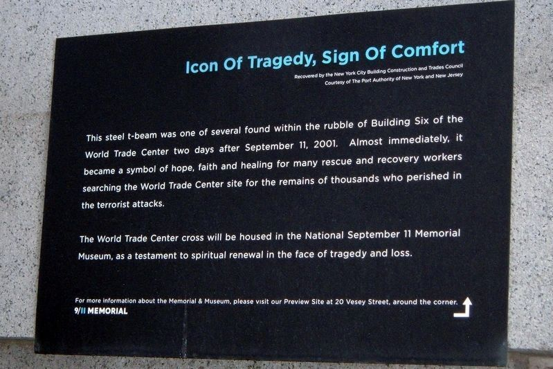 9/11 Museum informational marker image. Click for full size.