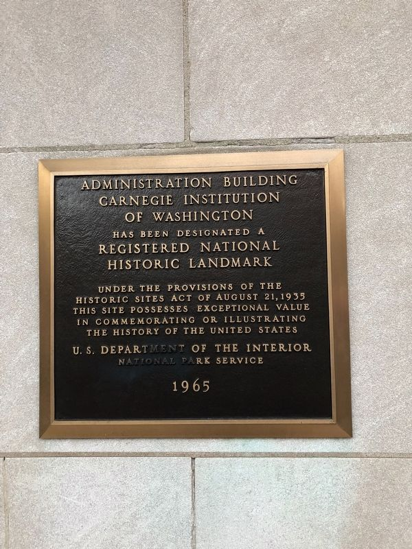 Administration Building, Carnegie Institution of Washington Marker image. Click for full size.