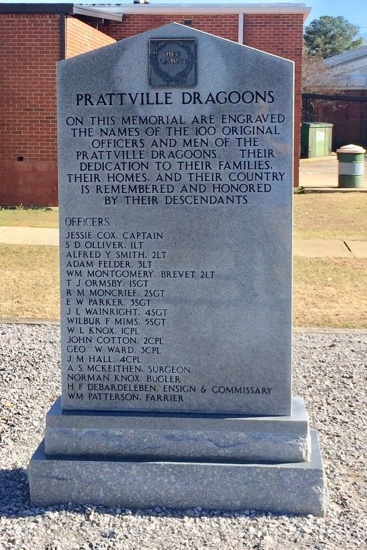 Prattville Dragoons Monument (Front) image. Click for full size.