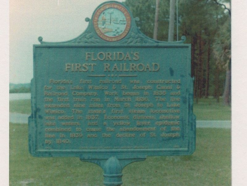 Florida's First Railroad Marker image. Click for full size.