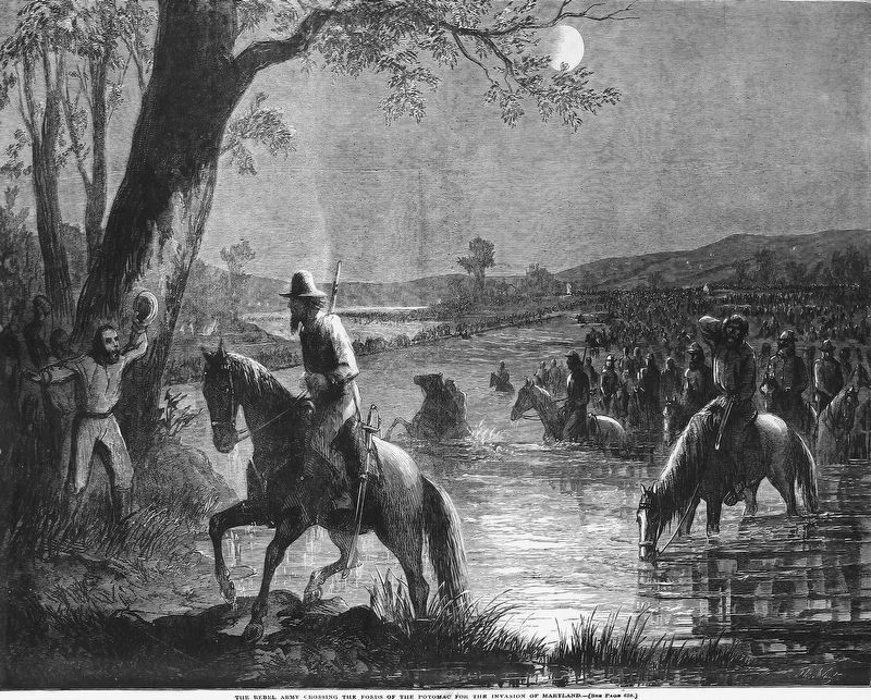 The Rebel Army Crossing the Fords of the Potomac for the Invasion of Maryland image. Click for full size.