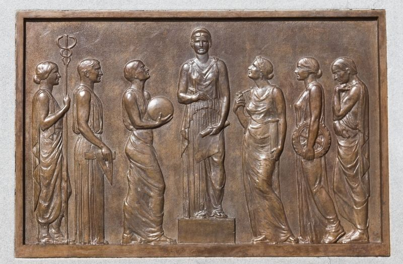 Bronze relief plaque on left of base image. Click for full size.