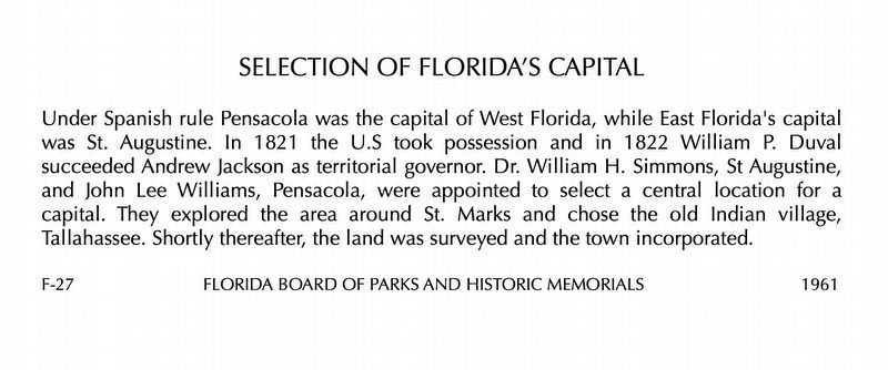 "The Wording for the ""Selection of Florida's Capital"" Marker image. Click for full size."