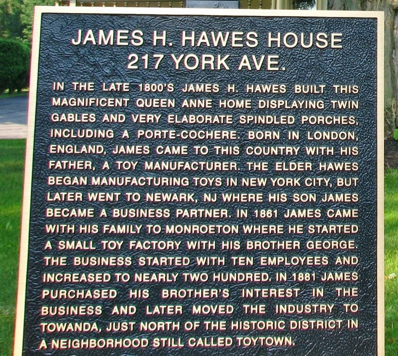James H. Hawes House Marker image. Click for full size.