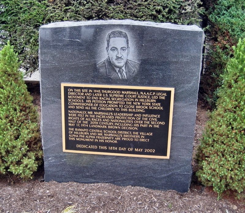 Thurgood Marshall and the Hillburn Schools Marker image. Click for full size.