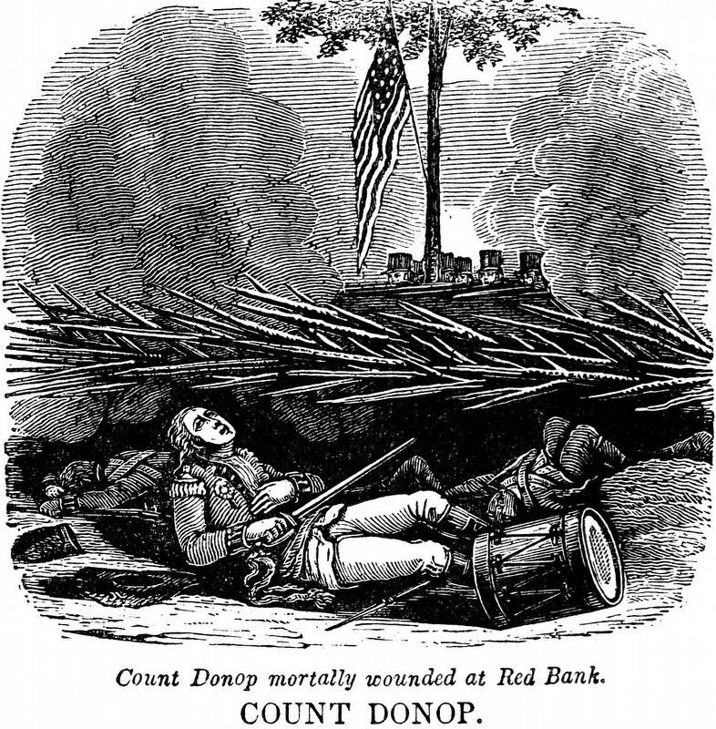 Count Donop Mortally Wounded at Red Bank image. Click for full size.
