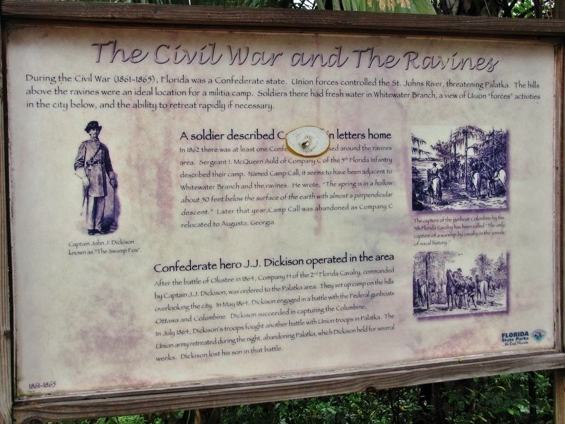 The Civil War and the Ravines Marker (<i>wide view</i>) image. Click for full size.