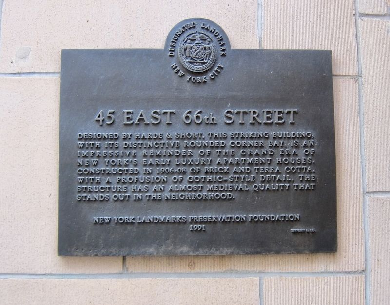 45 East 66th Street Marker image. Click for full size.