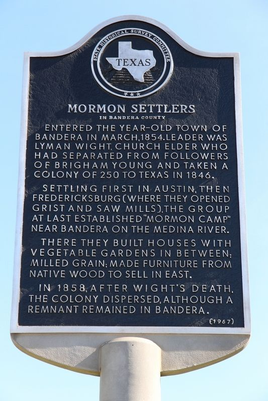 Mormon Settlers in Bandera County Marker image. Click for full size.