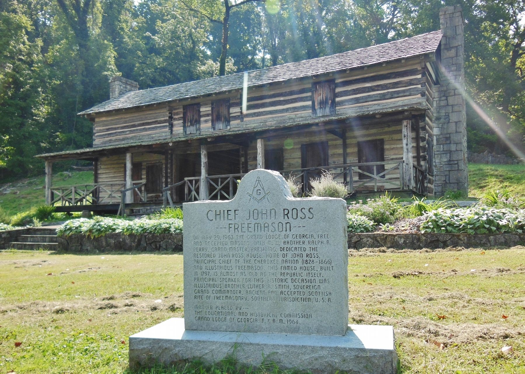 Chief John Ross Marker (<i>wide view; John Ross home in background</i>) image. Click for full size.