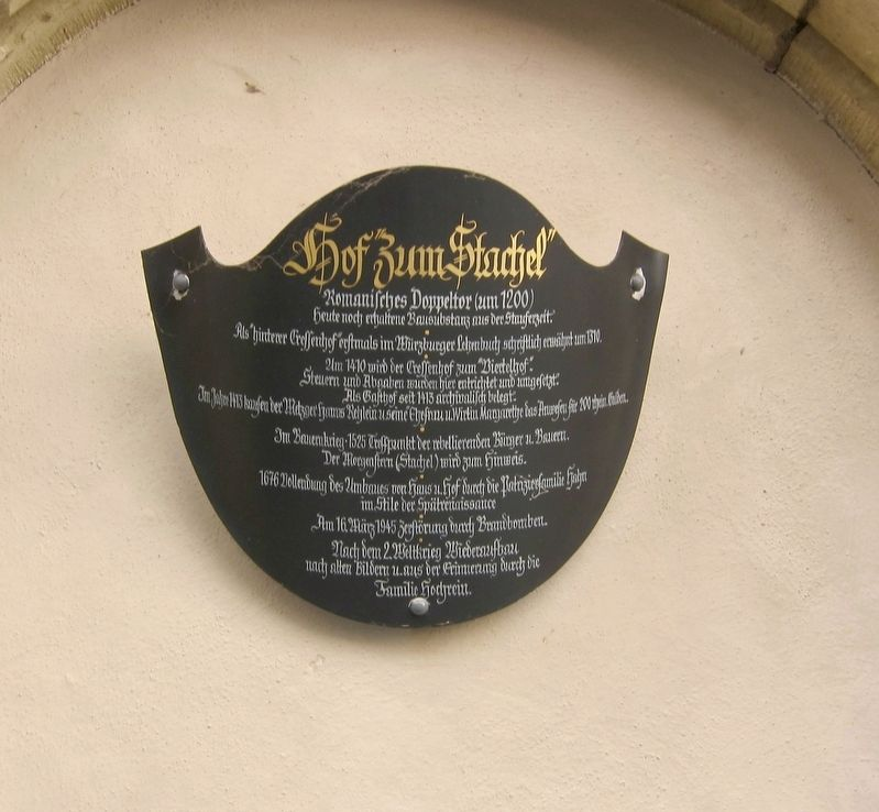 "Hof ""Zum Stachel"" / The Mace Inn Marker image. Click for full size."