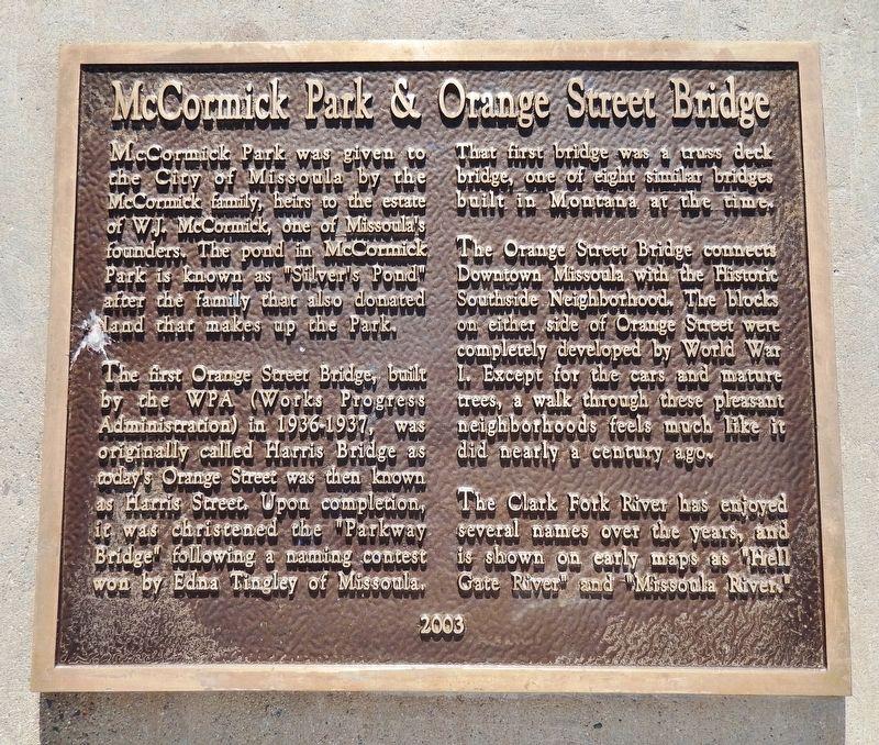 McCormick Park & Orange Street Bridge Historical Marker