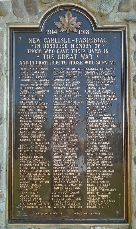 War Memorial Great War Honor Roll image. Click for full size.