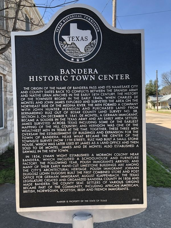 Bandera Historic Town Center Marker image. Click for full size.