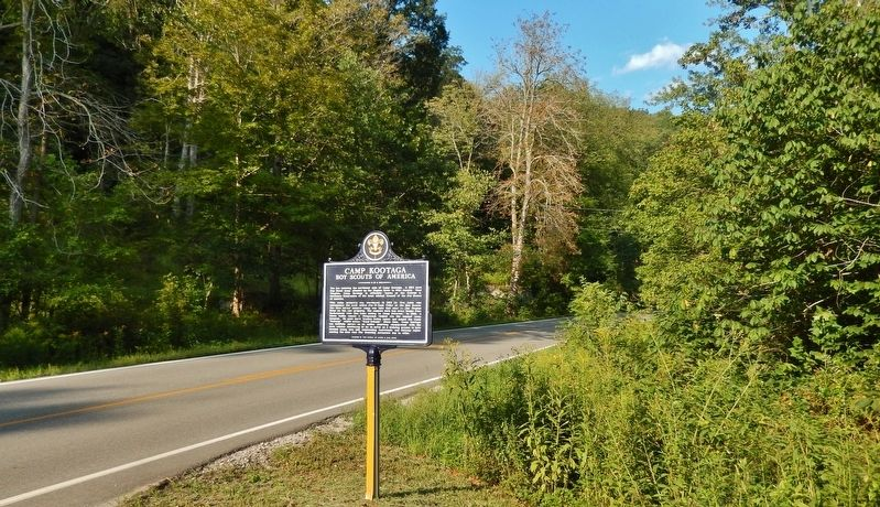 Camp Kootaga Marker (<i>wide view; Staunton Turnpike (West Virginia Hwy 47) in background</i>) image. Click for full size.