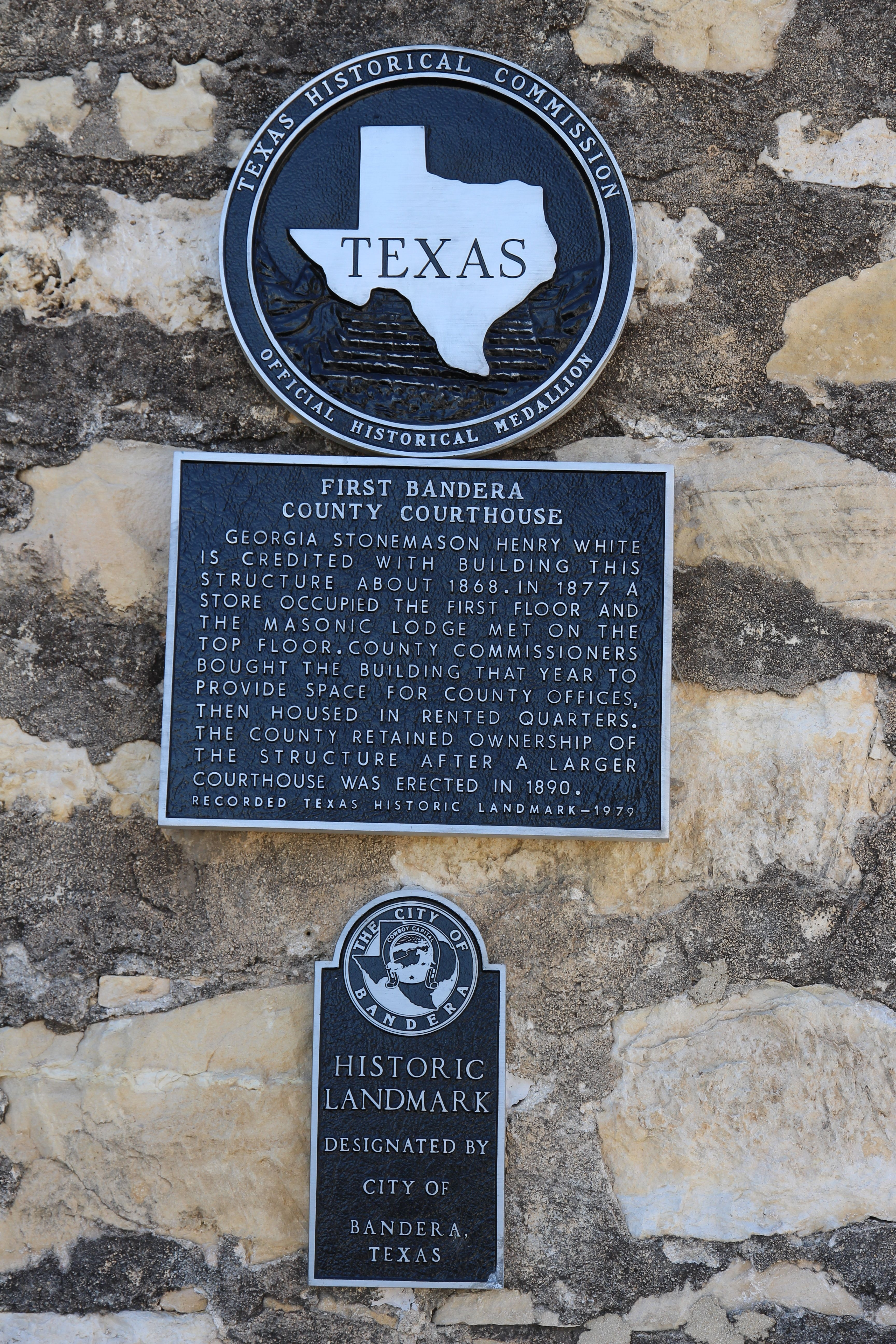 First Bandera County Courthouse Marker