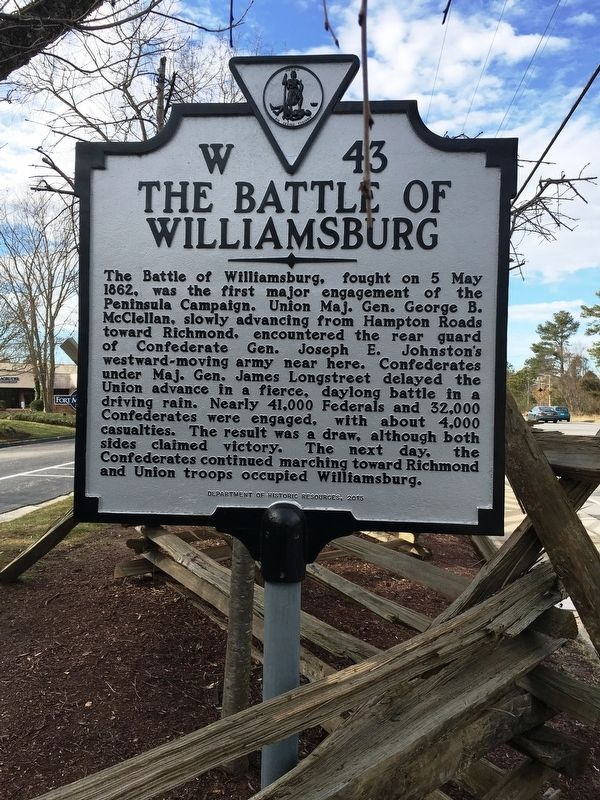 Battle of Williamsburg Marker image. Click for full size.