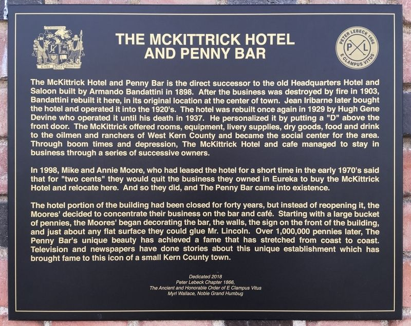 McKittrick Hotel and Penny Bar Marker image. Click for full size.