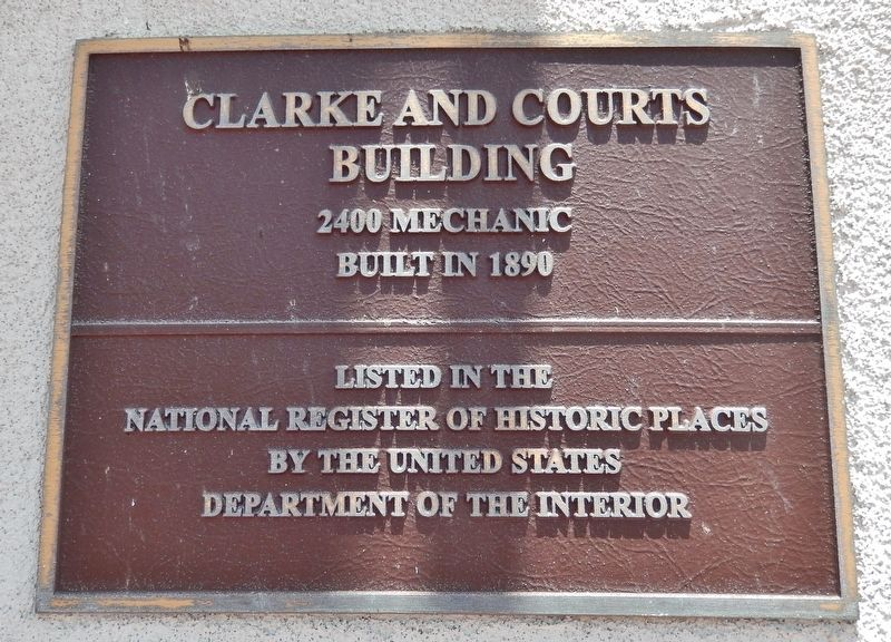 National Register of Historic Places plaque<br>Clarke & Courts Building image. Click for full size.