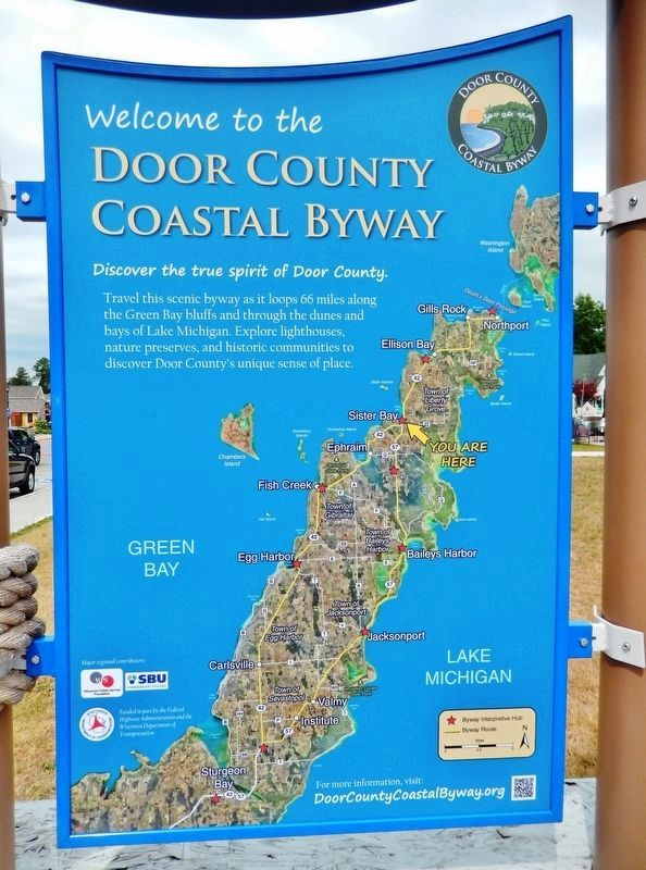 Welcome to the Door County Coastal Byway<br>(<i>adjacent panel; to left of marker</i>) image. Click for full size.