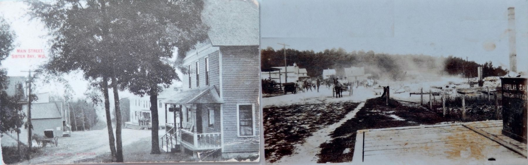 Marker detail: Downtown Sister Bay - Before and After the 1912 Fire image. Click for full size.