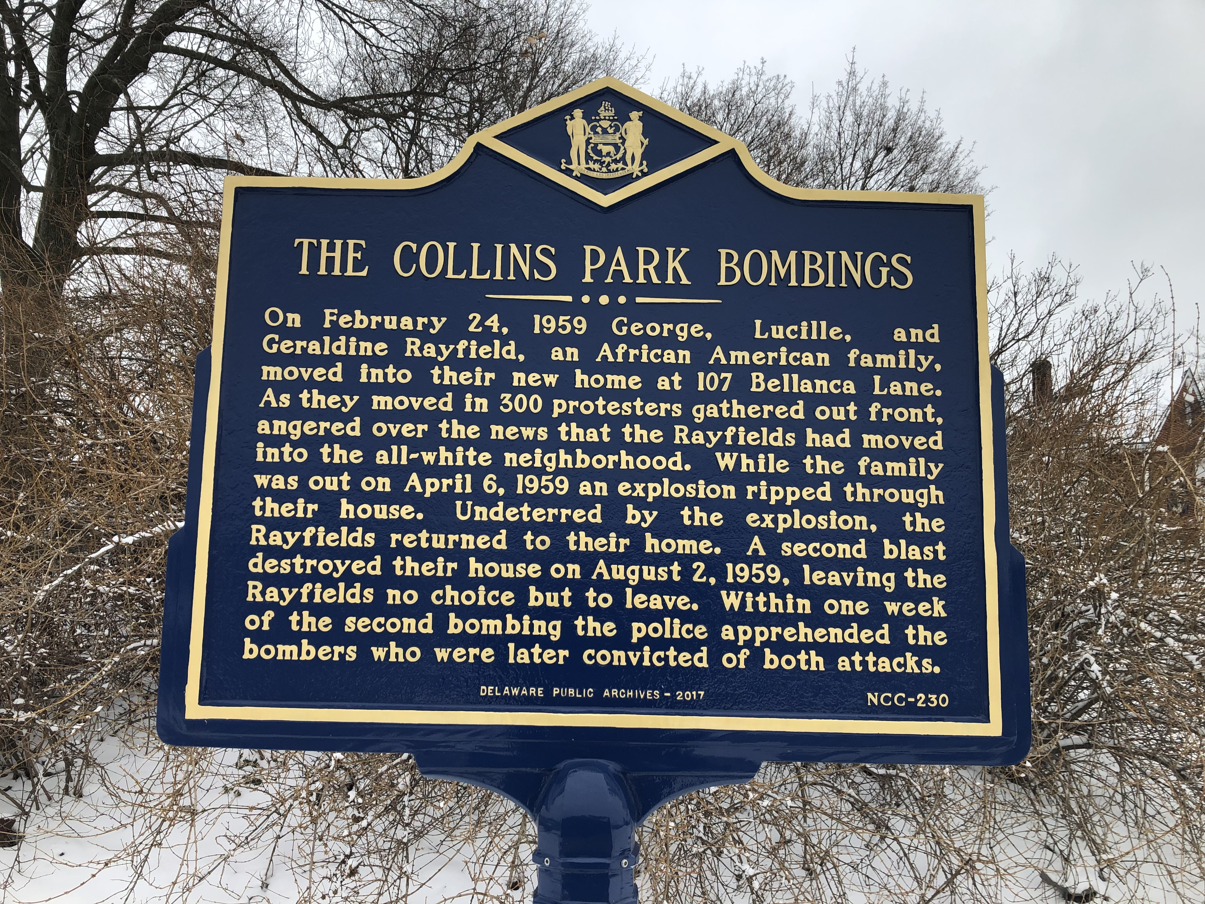 The Collins Park Bombings Marker