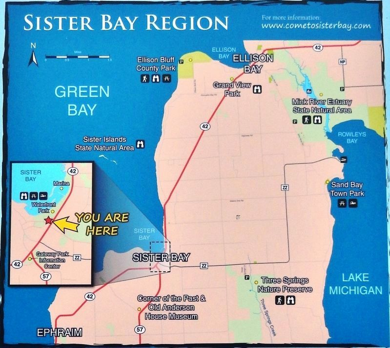 Marker detail: Sister Bay Region Natural & Historic Site Map image. Click for full size.