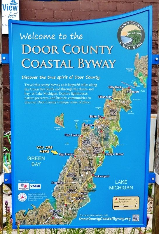 Door County Coastal Byway<br>(<i>adjacent panel; to left of marker</i>) image. Click for full size.