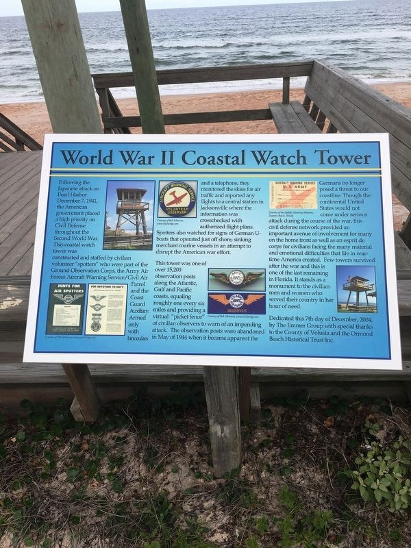 World War II Coastal Watch Tower Marker image. Click for full size.