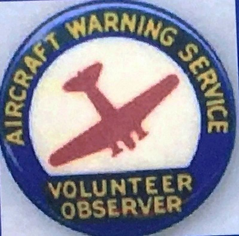 Marker detail: Aircraft Warning Service Volunteer Observer Badge image. Click for full size.
