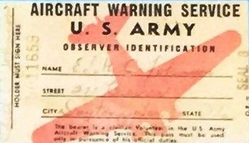 Aircraft Warning Service I.D. Card image. Click for full size.