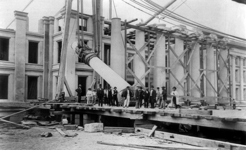Construction of the Treasury Building image. Click for full size.