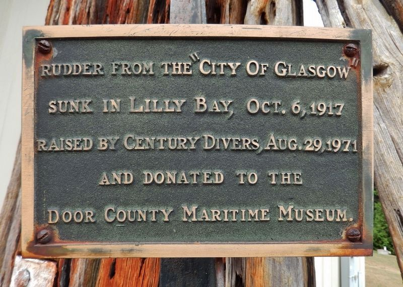 <i>City of Glasgow</i> Rudder Marker image. Click for full size.