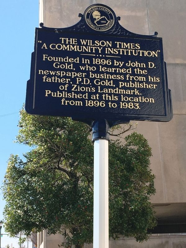 The Wilson Times Marker image. Click for full size.