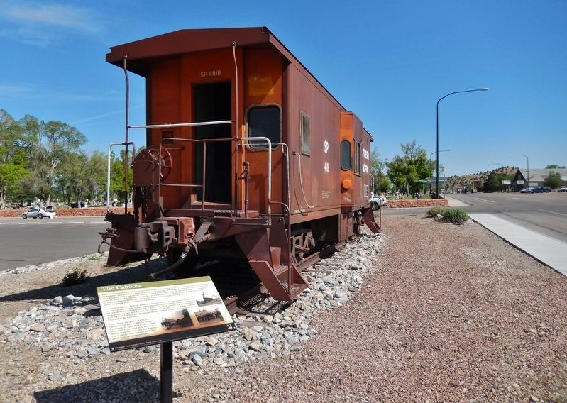 The Caboose Marker (<i>wide view looking north; North Main Street on right</i>) image. Click for full size.