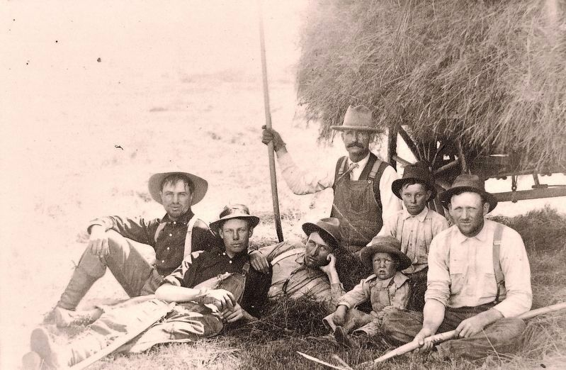 Marker detail: An Iron County Hay Crew image. Click for full size.