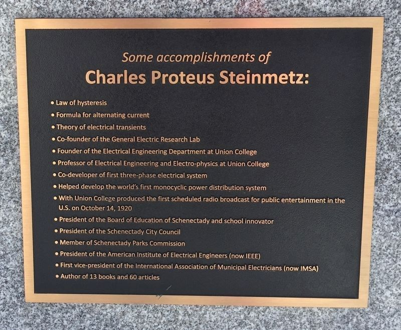 Steinmetz's Accomplishments image. Click for full size.